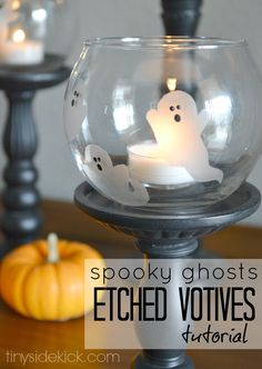 DIY Spooky Ghosts Etched Votives