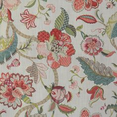 Chloe Raspberry - RM Coco Fabrics drapery and upholstery fabric offered online by the yard at unbeatable discount prices with RM Coco Fabric samples available, quick shipping and unsurpassed customer service. Floral Print Fabric, Fabric Birds, Ikat Fabric, Floral Prints, Curtain Fabric, Curtains, French Country Fabric, Chinoiserie Motifs, Waverly Fabric