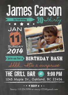 Retro Chalkboard Adult Birthday Invitation 30th Celebration Men Or Women 40th Invite Photo Insert 50th 60th 70th AB16