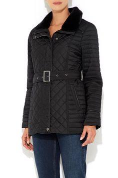 Petite Black Fur Quilted Biker Jacket #MyChristmasStory
