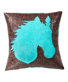 Love this Teal & Brown Faux Leather Horse Throw Pillow on #zulily! #zulilyfinds