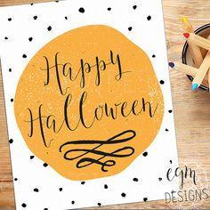 Happy Halloween Digital Print printable art Instant by egmDESIGNS