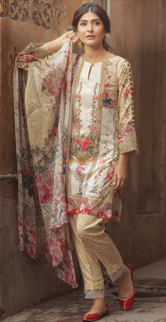 FIRDOUS Latest Embroidered Lawn Eid Collection Replica Fabric: Lawn Printed Lawn Shirt Front Printed Lawn Shirt Back Embroidered Neck Printed Lawn Sleeves With Embroidered Sleeves Patch Printed Brochia Dupatta Printed Trousers Included Pakistani Dresses Party, Pakistani Fashion Casual, Beautiful Pakistani Dresses, Pakistani Dress Design, Pakistani Outfits, Pakistani Lawn Suits, Indian Fashion, Sleeves Designs For Dresses, Dress Neck Designs