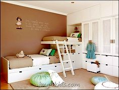 Beige And Mint Green Kids Bedroom For Two....Color and beds