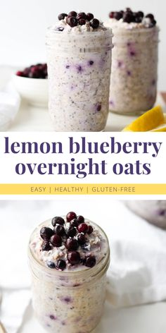 These Lemon Blueberry Overnight Oats are sweet, spring vibes in a jar. They're a great, make-ahead healthy breakfast option that will nourish, energize and keep you full. Blueberry Overnight Oats, Overnight Oatmeal, Healthy Overnight Oats, Blueberry Oatmeal, Oatmeal Recipes, Snack Recipes, Smoothie Recipes, Dinner Recipes, Snacks