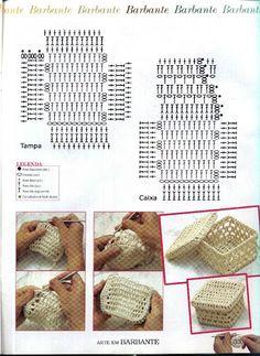Interesting ideas for decor: Crochet baskets. Crochet Towel, Crochet Box, Crochet Basket Pattern, Crochet Diagram, Crochet Motif, Crochet Doilies, Crochet Stitches, Crochet Patterns, Crochet Baskets
