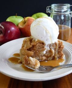 Apple cake....add 1 tsp salt, 1/4 tsp ground cloves, 1/4 tsp ginger, 1/2 tsp nutmeg, increase cinnamon to 1 1/2 tsp. Caramel sauce - 1/2 cup sugar, 3 T butter, 1/4 c heavy cream.  Melt sugar in heavy sauce pan and allow to darken in color, remove from heat and add butter and cream.