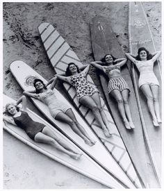 """Someone tagged this as """"1960s surfer girls"""". But I'd say 40s, maybe 50s, no later?"""