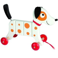 "Crazy Rocky loves feeling the wind blowing through his fur as he ""runs"" around the house. This adorable wooden pull toy features a classic design with a modern"