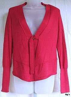 Nanette Lepore Red Cashmere Belted Asymetrical Cardigan Sweater M #NanetteLapore #Cardigan