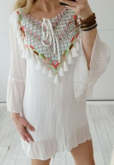 vintage-fashion-design - Tunika Ibiza LOVE von Miho´s in off white Gr. 36 38 40