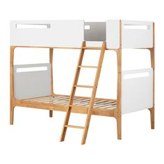 Twin Bebble Modern Bunk Beds Pure White And Exotic Light Wood - South Shore : Target Safe Bunk Beds, Twin Bunk Beds, Kids Bunk Beds, Convertible Bunk Beds, Wood Twin Bed, Modern Bunk Beds, Ways To Sleep, Bed Frame, Pure Products