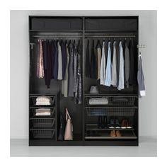 PAX Wardrobe, black-brown, Ilseng black-brown 200x66x236 cm -