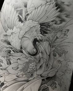 new Ideas illustration art tattoo ink tatoo Japanese Tattoo Art, Japanese Sleeve Tattoos, Japanese Painting, Crane Tattoo, Japanese Bird, Geometric Nature, Asian Tattoos, Japan Tattoo, Oriental Tattoo