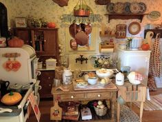 Kathleen Holmes dollhouse kitchen.  Fall baking--fresh homemade bread prep board made by 2smartminiatures.
