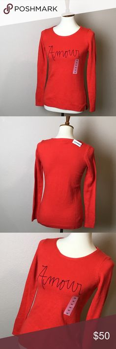 NWT OLD NAVY Amour Sweater New with tag. Super cute and comfy.   Size XS.  Make a reasonable offer and I'll either counter, accept or decline. No trades.  Please check out the rest of my closet, I have various brands. Old Navy Sweaters Crew & Scoop Necks