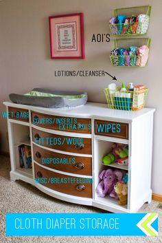 92 nursery storage ideas to keep your cloth diapers organized - Baby Tooshy Cloth Diaper Organization, Cloth Diaper Storage, Cloth Nappies, Couches, Baby Clothes Storage, Baby Storage, Diaper Changing Station, Trendy Baby Clothes, Diy Clothes