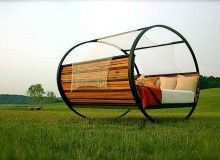 An outdoor rocking bed. Cool
