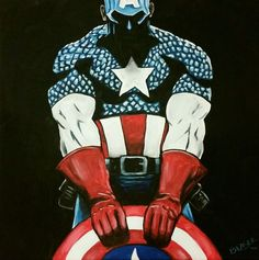 Captain America Pop Art Original Painting 12X12 movie canvas portrait Super hero #Realism