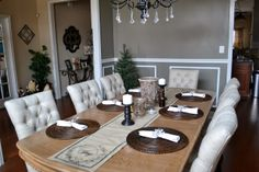 Holiday Home Decor 2013 Celebrating Christmas, Table Settings, Chairs, Dining Room, Room Decor, Holiday Decor, Place Settings, Stool, Room Decorations