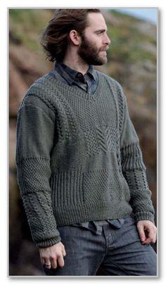 Вязание спицами. Пуловер с V-вырезом и миксом из рельефных узоров. Размер XS(S:M:L:XL:XXL:2XXL)