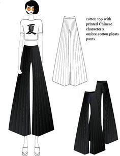 Summer look_cotton top x ombre cotton pleats pants