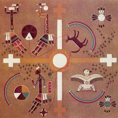 """""""L'homme dans le labyrinthe"""" - L'art sacré des Navajo - Peinture de sable - Croix recroisetée (croix grecque avec des petites croix grecques aux extrémités de chaque branche)."""