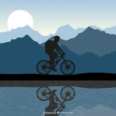 Silhouette of a man riding a bike Free Vector Ocean Wallpaper, Butterfly Wallpaper, Photo Wallpaper, Velo Dh, Bike Silhouette, Arte Peculiar, Jr Art, Cycling Art, Cycling Quotes
