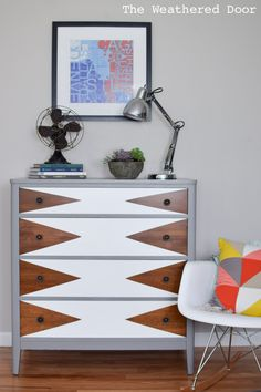 idee deco coffre - The Weathered Door: Before & After: Mod Triangle Dresser Makeover Refurbished Furniture, Paint Furniture, Repurposed Furniture, Furniture Projects, Furniture Makeover, Home Furniture, Furniture Design, Upcycled Furniture Before And After, Plywood Furniture