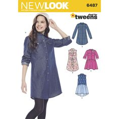 Girls' shirt dresses are adorable in chambray and shirting fabrics. Pattern features collarless dress with long sleeves and shirttail hem, or gathered skirt with appliques. Collared sleeveless dress can have shirttail hem with belt or gathered skirt. New Look sewing pattern.