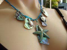 Iridescent New Zealand Paua Shell Abalone Necklace by KillerJewels, $26.50