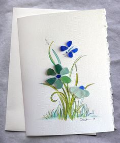 Sea Glass Flower and Butterfly card by RachelDrakeStudio on Etsy,