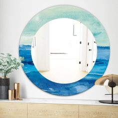 Designart 'Out To Sea' Traditional Mirror - Oval or Round Wall Mirror - Blue ( Blue Wall Mirrors, Round Wall Mirror, Mirror Shop, Traditional Mirrors, Mirrors Wayfair, Red Walls, Home Decor Trends, Wall Hanger, Home Decor Outlet