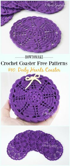 Crochet For Beginners Crochet Doily Hearts Coaster Free Pattern - Easy Filet Crochet, Beau Crochet, Crochet Diy, Crochet Gifts, Crochet Ideas, Crochet Things, Crochet Granny, Vintage Crochet, Vintage Sewing