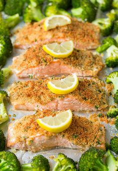 Single Sheet Pan Parmesan Crusted Salmon with Roasted Broccoli