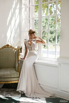 julie vino bridal 2015 fall provence grace cap sleeve wedding dress keyhole bodice high neckline view 2 -- Julie Vino Fall 2015 Wedding Dresses