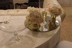 Footed Bowl and Gold Bud vases with blush and ivory flowers