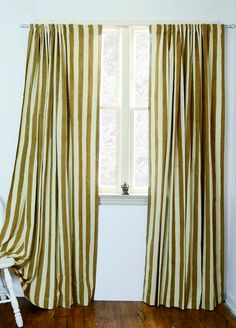 """SAMPLE SALE SINGLE window curtains Dirty Gold Stripe panels - 57""""w x 84""""L - Hand Block Printed with Natural dyes Cotton housewares"""