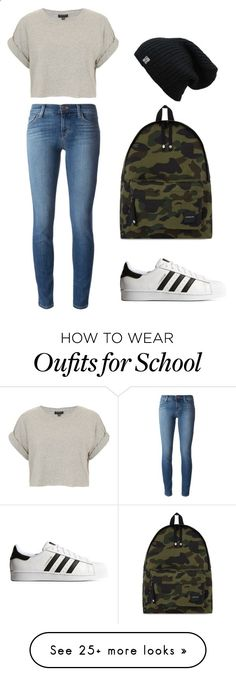 Walking to school by charlotteh2001 on Polyvore featuring J Brand, Topshop, adidas Originals and A BATHING APE