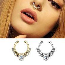 Aço cirúrgico Titanium ouro prateado cristal anel de nariz falso falso septo anéis Body Piercing jóias Hoop Aros para as mulheres(China (Mainland))