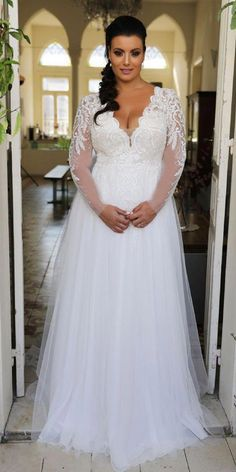 Stunning princess plus size wedding gown with long lace sleeves and tulle skirt…. Stunning princess plus size wedding gown with long lace sleeves and tulle skirt….,Wedding Dresses Stunning princess plus size wedding gown with. Wedding Dress Material, V Neck Wedding Dress, Applique Wedding Dress, Lace Wedding, Trendy Wedding, Diy Wedding, Wedding Skirt, Size 20 Wedding Dress, Movie Wedding