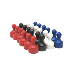 Small Assorted Color Plastic Magnetic Push Pins - High Grade Neodymium Magnets (24 Pack)
