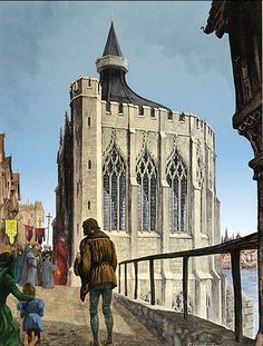 Thomas Becket Chapel on the medieval London Bridge. After the Reformation, the chapel was desecrated and turned into a house, and later a warehouse. In the second half of the 18th century the chapel and all the houses on the bridge were demolished.