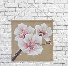 Japanese Trends, Acrylic Resin, Table Flowers, Cherry Blossom, Painting & Drawing, Shabby Chic, Wall Decor, Hand Painted, Etsy