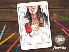 Postcard GirlsGirlfriendAdult Coloring BookColouring Page For DownloadBooklet Printable