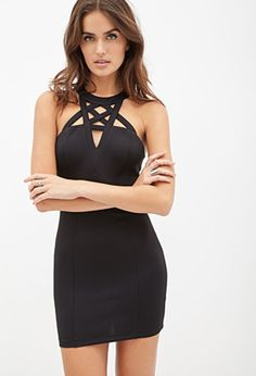 FOREVER 21 Caged Bodycon Dress Black