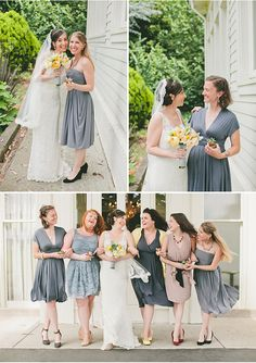 Bridesmaids in shades of grey | A San Francisco Wedding at Fort Mason General's Residence by onelove photography via StyleUnveiled.com