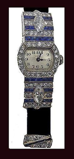 Art Deco Diamond Sapphire Platinum Watch, Ellis Bros C1920. Art Deco Period, Art Deco Era, Antique Watches, Vintage Watches, Antique Jewelry, Vintage Jewelry, Vintage Rings, Art Deco Jewelry, Jewelry Design