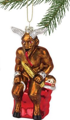 Krampus christmas tree ornaments remind your children to stay off of the naughty list.