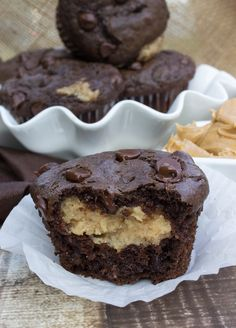 Rich chocolate muffins with a creamy peanut butter filling